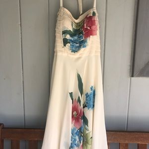 Sue Wong Cream with Floral Design Dress Sz 10